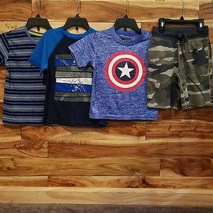 4 piece boys lot, 3 t-shirts and 1 shorts sz. 4/5